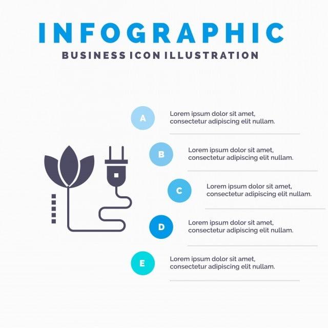 Biomass,energy,cable,plug Solid Icon Infographics 5 Steps