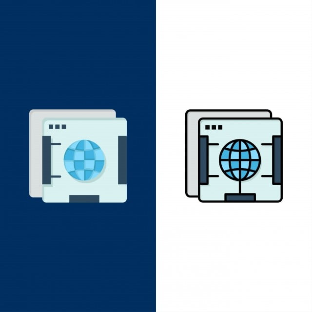 Brower,internet,web,globe Icons Flat And Line Filled Icon S