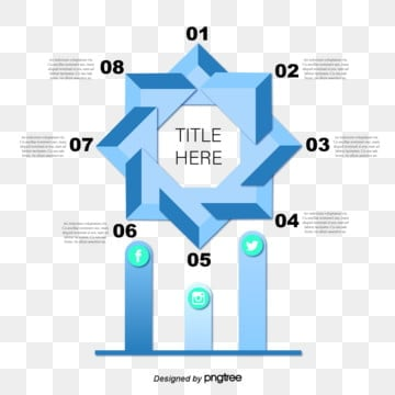 Geometric Information Cyclic Graph of Blue Gradient Polygon, Information, Geometric, Loop PNG and Vector