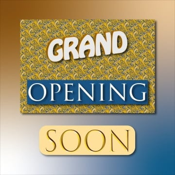 grand opening soon in bright colors like golden and blue, Grand Opening, Soon, New Opening PNG and Vector