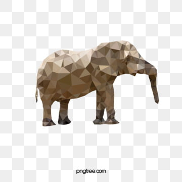 polygonal light colored animal elephant stereopsis, Animal, Polygon, Elephant PNG and Vector