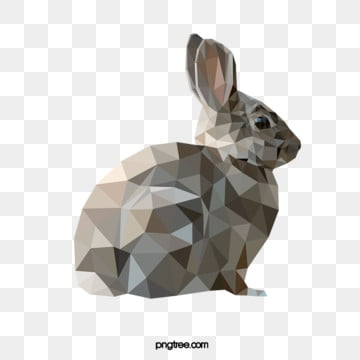 polygonal style gray rabbit, Rabbit, Realism, Animal PNG and Vector