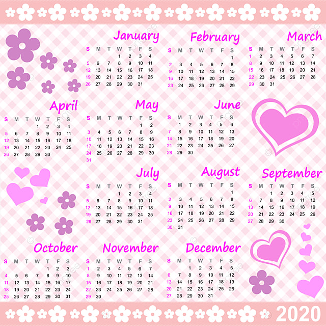 Calendario 2020 Gratis Con Foto.Calendar 2020 Hearts Flowers Purple 2020 Calendar Template