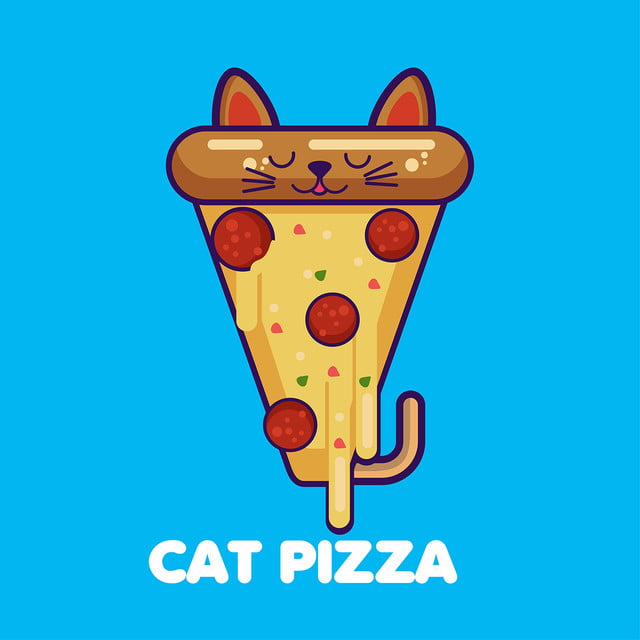 Vector Illustration Of A Kawaii Funny Pizza Slice With Cat