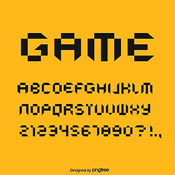alphabet font design of mosaic game style Fonts