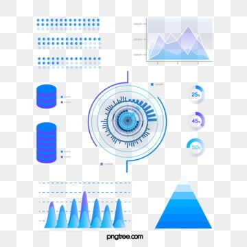 blue gradient business data icon group diagram, Information Chart, Element, Geometric PNG and Vector