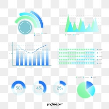Blue green Gradual Business Data Icon Group Diagram, Information Chart, Element, Light PNG and Vector