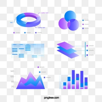 Blue purple Gradual Business Data Icon Group Diagram, Information Chart, Element, Light PNG and Vector