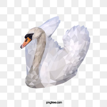 polygonal style swan, Realism, Animal, Polygon PNG and Vector