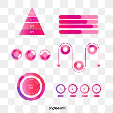 red gradient trend color business data information icon group map, Information Chart, Element, Luminescence PNG and Vector