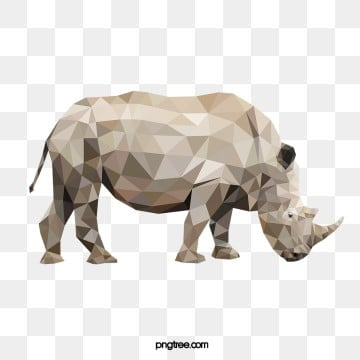 rhino in polygon style, Side, Realism, Animal PNG and Vector