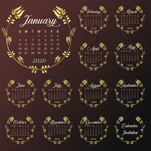 calendar 2020 invitation frame gold flowers template for