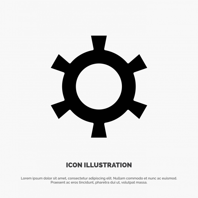 Cog Gear Setting Solid Glyph Icon Vector, Business, Circle