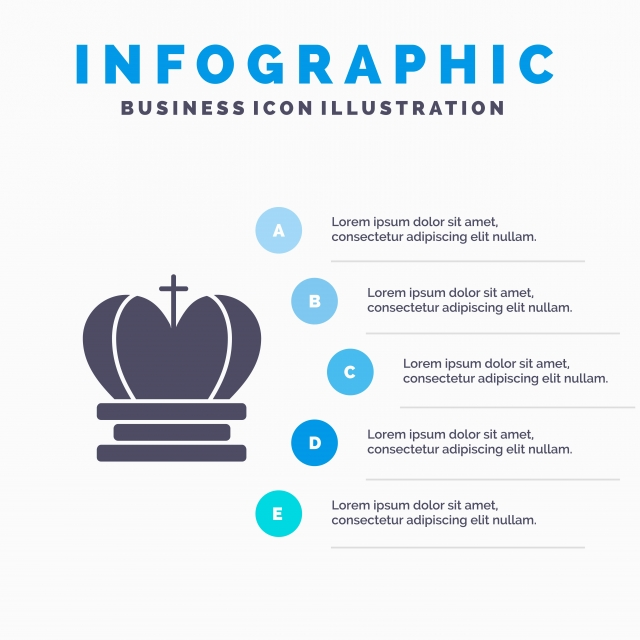 Crown King Royal Empire Solid Icon Infographics 5 Steps