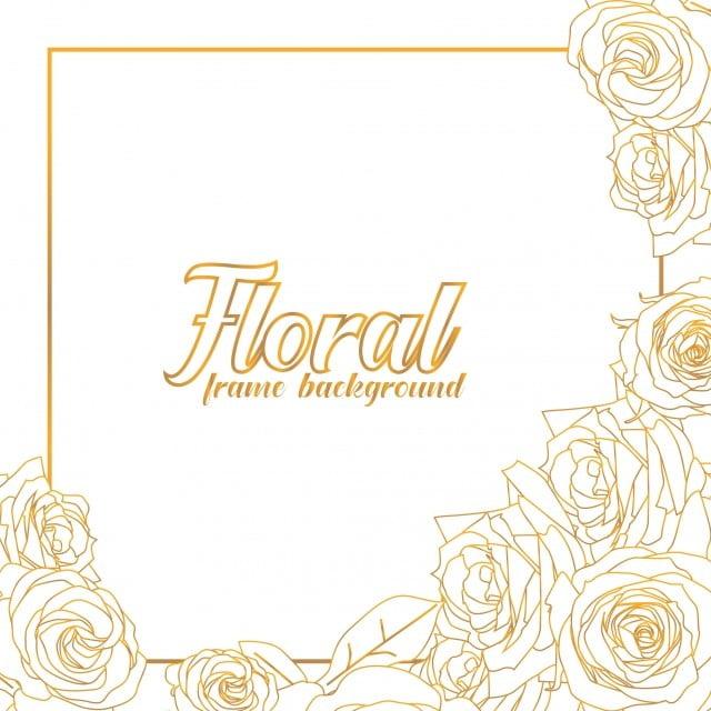 Golden Rose Flower Frame For Floral Background Floral