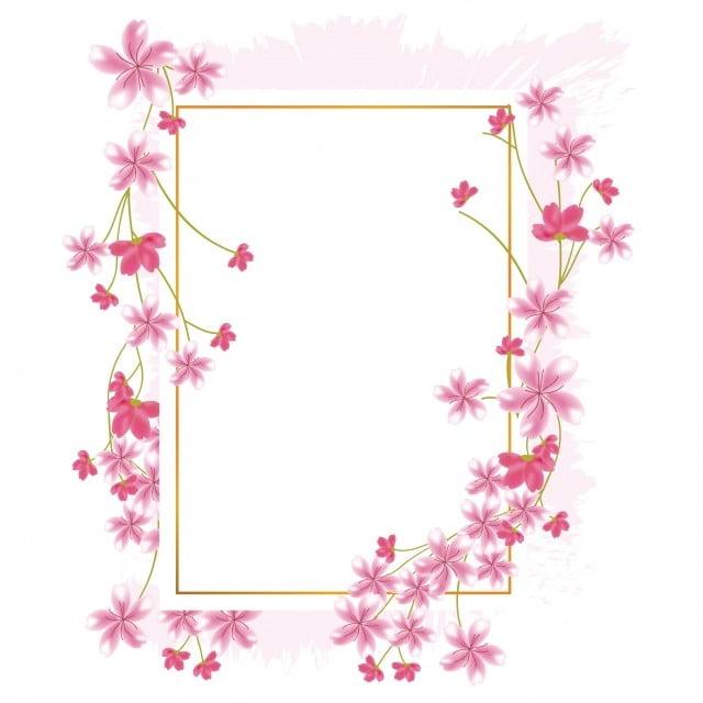 Sakura Cherry Blossom Flower Border Frame Spring