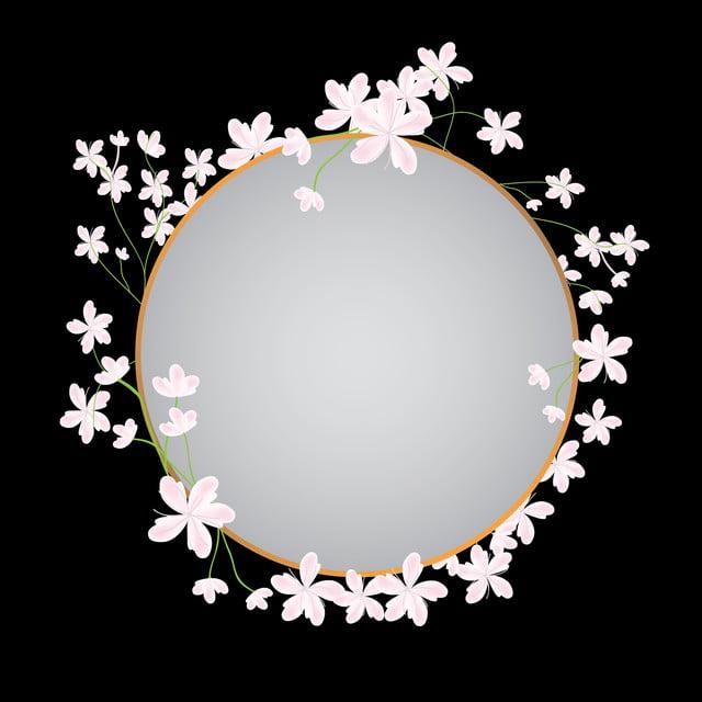 Sakura Cherry Blossom Flower Circle Frame Border Design Frame