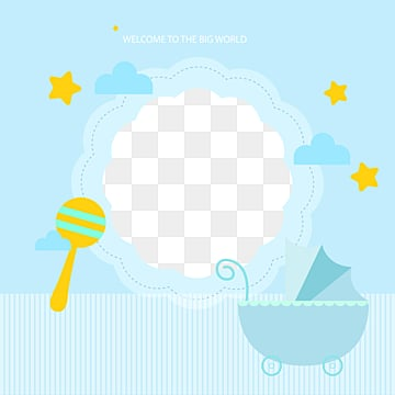 blue baby products lovely simple border, Flaky Clouds, Lovely, Baby Carriage PNG and Vector
