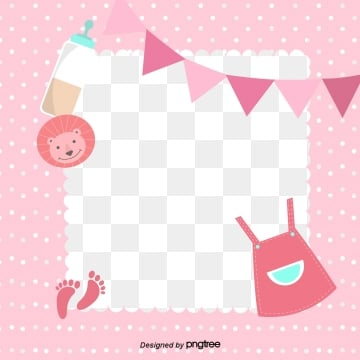 cute illustration frame for pink baby articles, Feeding Bottle, Baby, Coloured Flag PNG and Vector
