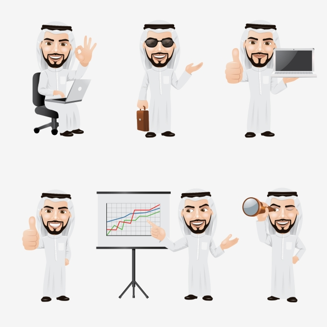 Arabic Businessman Character Set, Arab, Arabic, Arabian PNG
