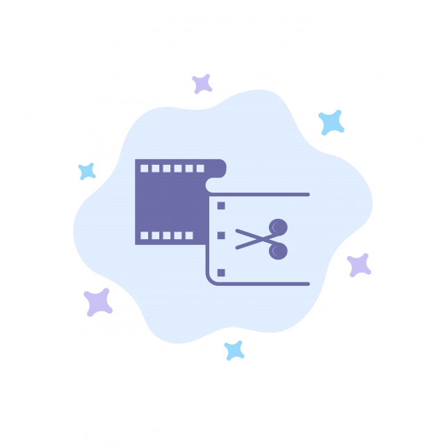 Clip,cut,edit,editing,movie Blue Icon On Abstract Cloud Back