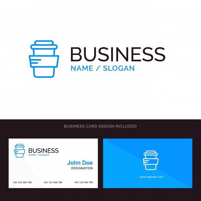 Trinken Sie Blaues Firmenlogo Und Visitenkarte Templat Glas