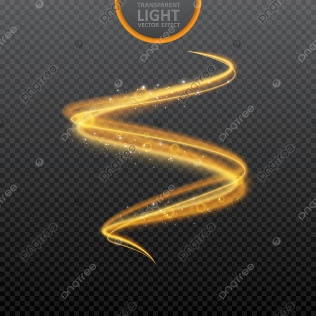 Golden Light Effect On Transparent Background With Realistic