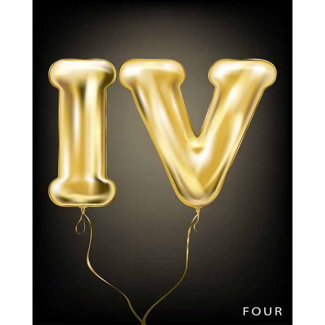 roman 4 number,gold foil balloon iv form on the black backgroun Art