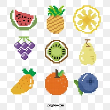 cartoon mosaic pixel fruit, Pixel, Cartoon, Hand Painted PNG and Vector