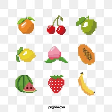 cute pixel wind fruit group map, Pixel Wind, Papaya, Lemon PNG and Vector