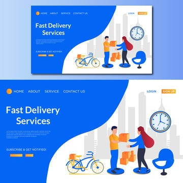 fast delivery vector landing page illustration, Woman, Tiny, Demand PNG and Vector