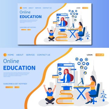 online education concept  vector landing page illustration, Graphic, Wireframe, Library PNG and Vector