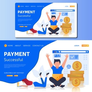 payment successful vector landing page illustration, Global, E-banking, Isometric PNG and Vector