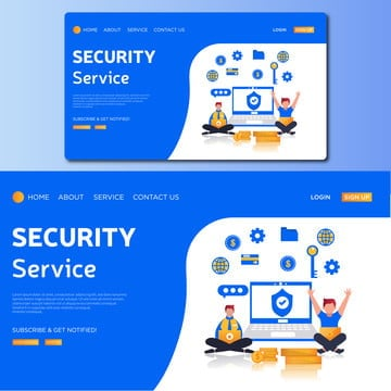 security service vector landing page illustration, Graphic, Protect, Defense PNG and Vector