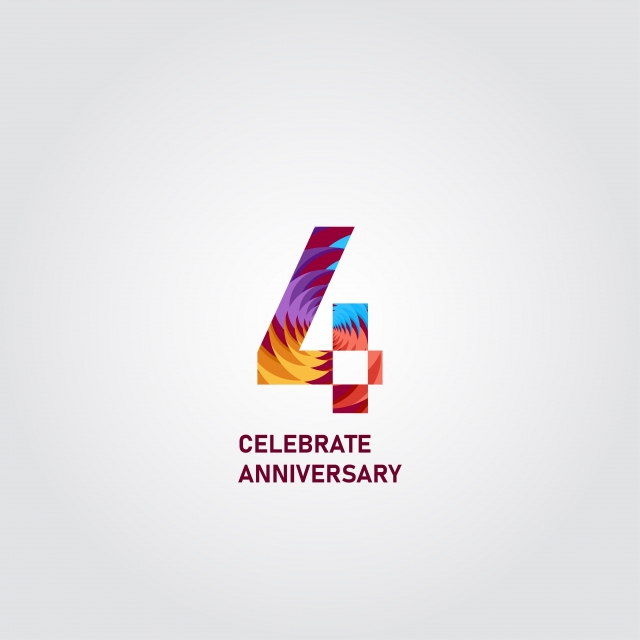4 Year Anniversary Elegant Rainbow Vector Template Design Illustration Template Icons Rainbow Icons Elegant Icons Png And Vector With Transparent Background For Free Download