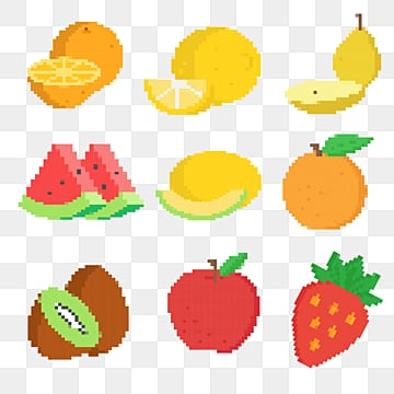 creative mosaic pixel fruit, Hami Melon, Pear, Orange PNG and Vector