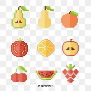 mosaic pixel fruit, Pixel, Pear, Cherry PNG and Vector
