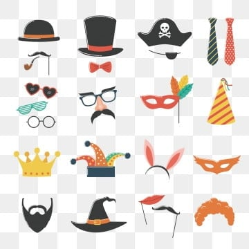 Photo booth birthday and party set with hat, mask, costume, glasses and beard, Disguise, Photo, Mask PNG and Vector