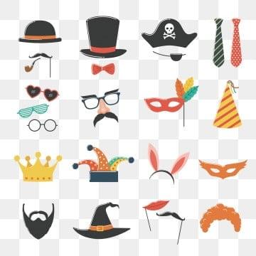 costume occhiali e barba maschera photo stand compleanno e set di festa con cappello, Complice, Barba, Compleanno PNG e Vector
