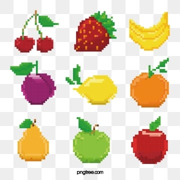 pixel color mosaic fruit, Pixel, Color, Cherry PNG and Vector