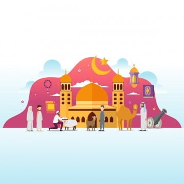 eid adha mubarak with tiny people character design concept hajj and umrah season, Hajj, Umrah, Couple PNG and Vector