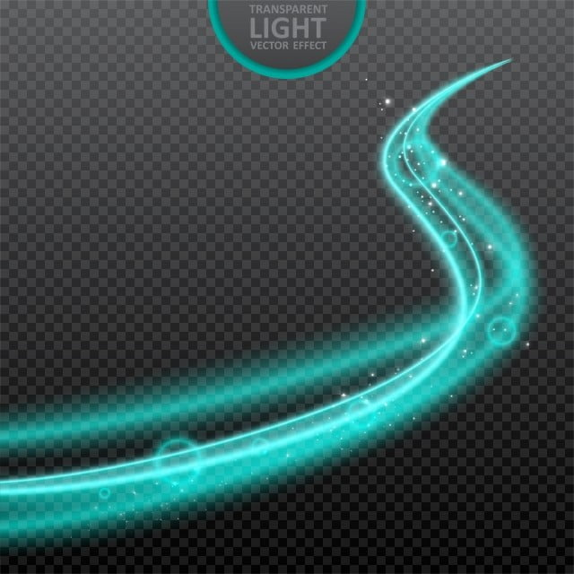 Blue Light Effect On Transparent Background With Realistic
