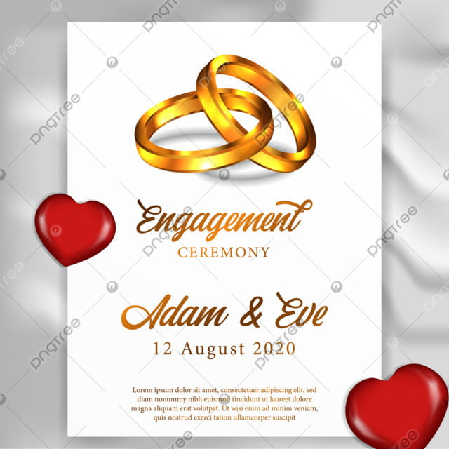 3d Couple Golden Ring For Poster Template Engagement Ceremony Party