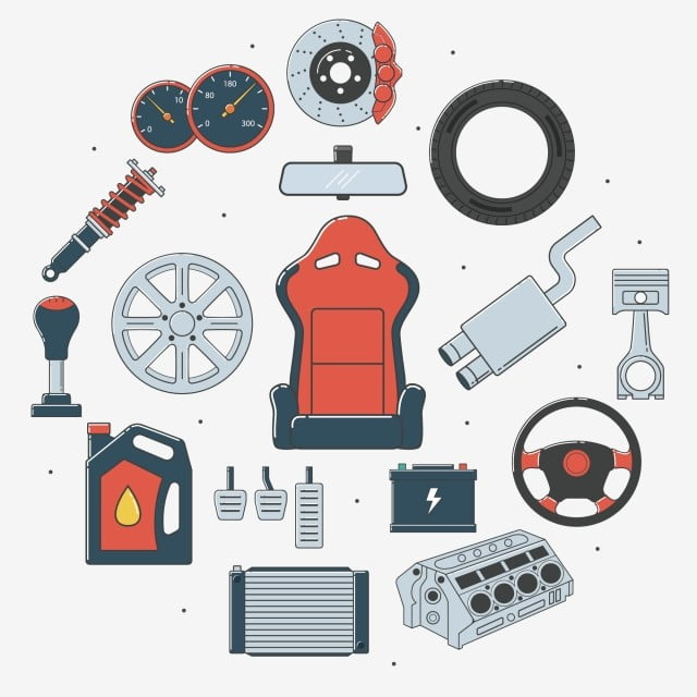 Set Of Car Parts Car Part Spare Parts Png And Vector With