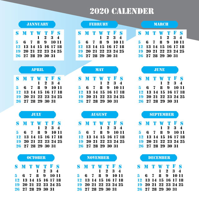 Calendrier 2020 Pinterest.2020 Calendar New Design Template For Free Download On Pngtree