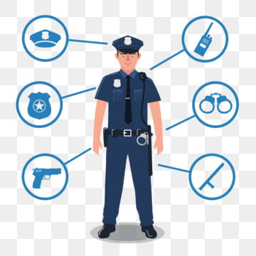 06d0e72dd0731b PNG Vector. Police officer with police equipment. Radio, baton, badge, gun,  handcuffs,