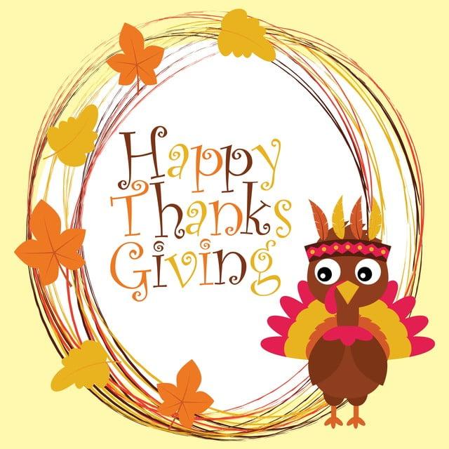 Cute Turkey And Happy Thanksgiving Text Cartoon ...