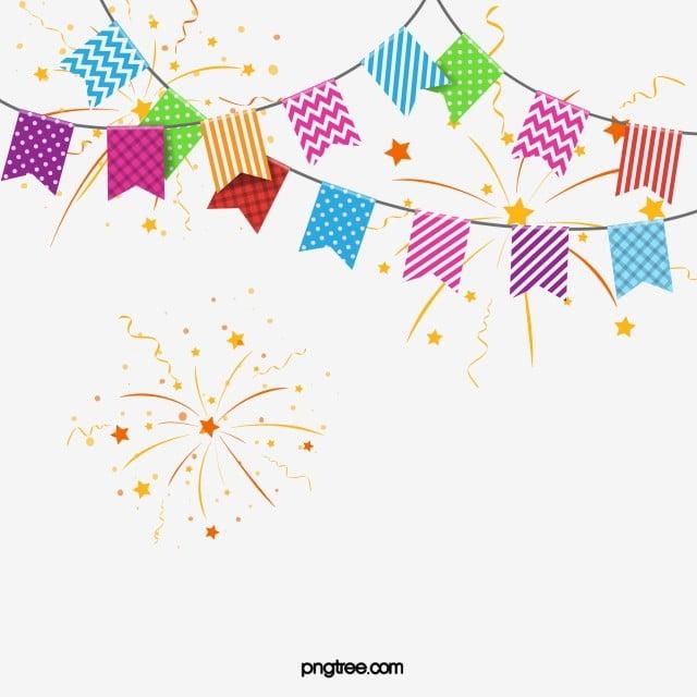 Party Coloured Scraps Celebrate Fireworks Flag Elements
