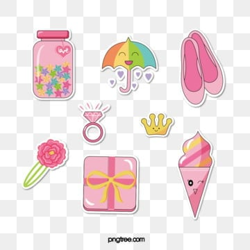 pink girl cute paper sticker, Cartoon, Hairpin, Girl PNG and Vector