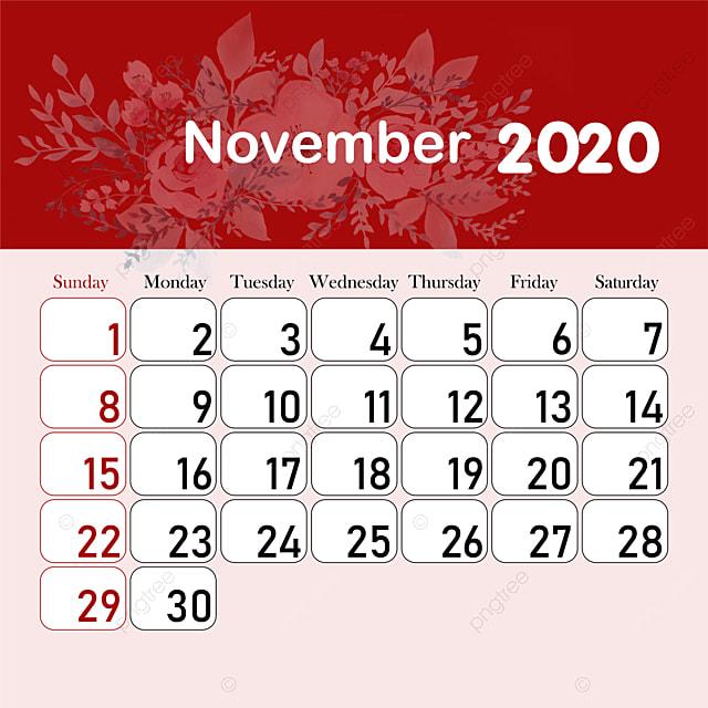 2020 년 11 월 달력 Pngtree에서 무료로 다운로드 할 수있는 템플릿.